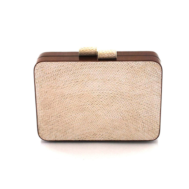 straw and wood clutch