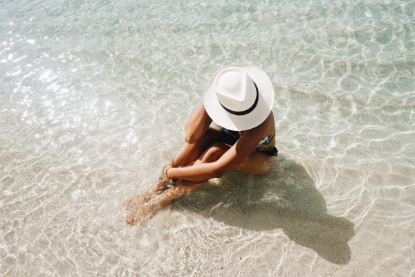 Cooling off in the crystal clear waters of St. John.